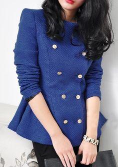 Blue Lapel Long Sleeve Tweed Crop Coat