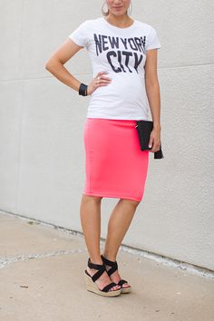 clutch, faux hawk, graphic tee, pencil skirt, wedges, leather earrings