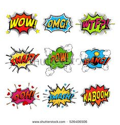 Set of comic speech bubble speech. Bomb with bang and pow cloud, wow and wtf communication symbol, snap and kaboom, ooh and oh. Shouting, humour speech expression, exploding splash box, onomatopoeia