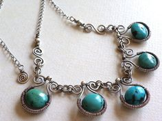 XXX Wire wrapped necklace sterling silver turquoise gemstone jewelry. $125.00, via Etsy.