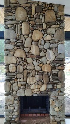River rock fireplace                                                                                                                                                                                 More