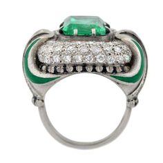 Art Deco Enameled Emerald Diamond Platinum Ring, circa 1930