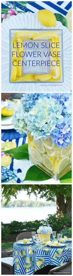 Flower Vases, Flower Art, Flower Arrangements, Floral Centerpieces, Wedding Centerpieces, Centerpiece Ideas, Summer Centerpieces, Table Decorations, Lemon Vase