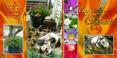 My Garden and my dog Sport! He loves marigolds, so I had to make him a lounging area there. Actually, I think he loves sun tanning and that is one of the best places to get some rays! This is one of my favorite scrapbook pages I did.
