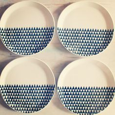 porcelain dinnerware 4 plates triangle screenprinted design.   MADE TO ORDER via Etsy