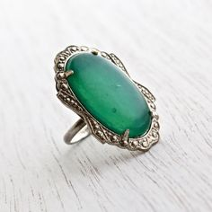 SALE - Antique Art Deco Green Glass Ring - Vintage Silver Tone 1930s Signed Uncas Statement Costume Jewelry Ring / Chrysoprase Green by Maejean Vintage on Etsy, $42.00
