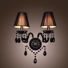 Černé křišťálové  nástěnné svítidlo se 2 světly a plátěným stínidlem – USD $ 59.99