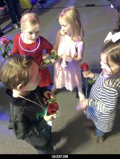 Six year-old son had his first school dance tonight. Got caught giving roses to different girls.#funny #lol #lolzcat