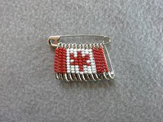 Canadian Flag Beaded Safety Pin by CreativeSafetyPins on Etsy