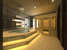 Sauna Design Ideas - MY FAVOURITE; BIG POOL NEXT TO IT; DOWNSTAIRS SO IF YOU HAVE SNOW THEN ITS SUPERB