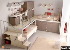 Composizione a soppalco con doppio letto