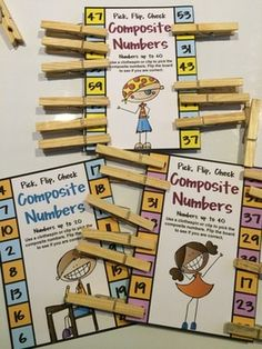 Composite Numbers Pick, Flip and Check cards by Games 4 Learning - The fun way to review composite numbers. $