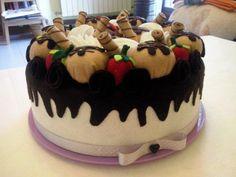 Porta torta in feltro, bignè, copri torta, cucina, regalo, mamma