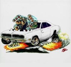 Dodge Charger pompata a bestia Cartoon Car Drawing, Cartoon Pics, Cartoon Art, Weird Cars, Cool Cars, Crazy Cars, Caricature, Hot Rods, Ed Roth Art