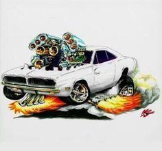 Dodge Charger pompata a bestia Cartoon Car Drawing, Cartoon Pics, Cartoon Art, Weird Cars, Cool Cars, Crazy Cars, Hot Rods, Ed Roth Art, Caricature