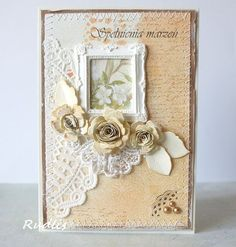 This is so pretty with the handmade roses and then the tiny picture frame just adds to the 'pretty'!