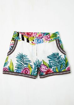 Tropic of the Day Cover-Up Shorts - Cotton, Woven, Novelty Print, Beach/Resort, Travel, Cover-up, Summer