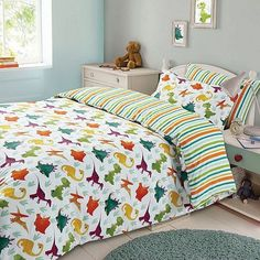 Tesco direct: Dinosaur Kids Duvet Cover Bedding Set, Stripes
