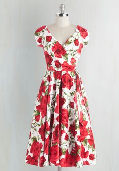 Layered Cupcakes Dress in Red and White - Floral, Valentine's, Vintage Inspired, Cotton, Woven, Red, White, Print, Daytime Party, Fit & Flare, Long