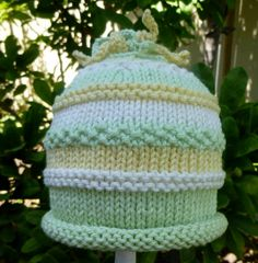 Hand Knit Baby Hat Pale Green And Yellow by HollyLaneTreasures, $32.00