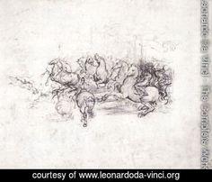 Leonardo Da Vinci - Group of riders in the Battle of Anghiari 1503-04