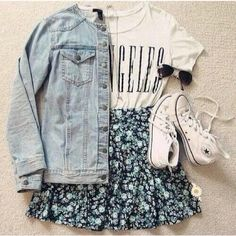 denim jacket, skater skirt, white converse