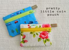 s.o.t.a.k handmade: pretty little coin pouch {a tutorial}.   these are so cute.  Could do so many pretty fabrics