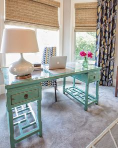 Lucy and Company: Install of the Day ! I'd love this desk for my home office!  The turquoise is perfect.