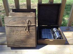 Cigar box and liquor flask set. Really nice groomsmen gift