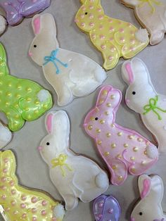 Easter bunnies~                  by BennysBakeryCakes, via Flickr, pink, green, white, yellow, polka dot