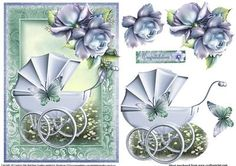 Baby boy pram topper on Craftsuprint designed by Julie Hutchings - Gorgeous mint and blue baby boy topper with decoupage and sentiment tag Congratulations - Now available for download!