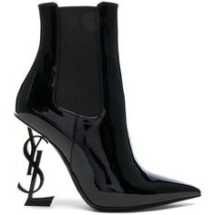 Saint Laurent Patent Opium Monogram Heeled Boots (€1.280) ❤ liked on Polyvore featuring shoes, boots, black, heels, black high heel shoes, patent boots, black heeled boots, black shoes and black patent leather shoes