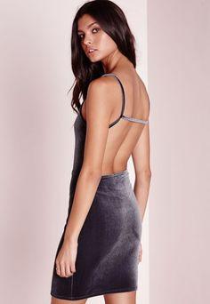 Velvet Strappy Open Back Bodycon Dress Grey - Dresses - Bodycon Dresses - Missguided