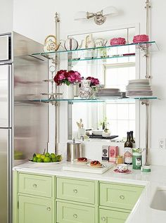 Marcus Design: Metal & Glass Open Shelving In The Kitchen
