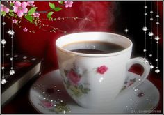 A Cup of Coffee with Flowers and Bling : ☆*´¨`☽ ¸.        ☆*´¨`☽ ¸....
