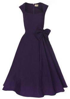 Buy Womens Dark Purple Classy Vintage 1950's Rockabilly Style Bow Swing Party Dress|Walsonrockabilly