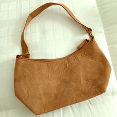 Brown Tan Ultra Suede Small Handbag Purse NWOT. Inside zipped compartment. Delias Bags Mini Bags
