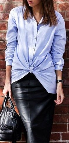 how to wear a blue short with leather: interview outfit