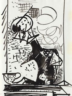 Hans Hofmann (1880-1966)  Untitled Still Life  circa 1934 India Ink on Paper  11 x 8in