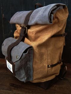 The Nomad Backpack  Hand waxed canvas and by ScaramoucheWorkshop