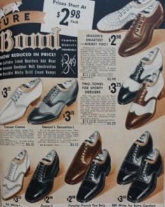 1930s Men's shoes, dress shoes, two tone shoes at VintageDaner.com