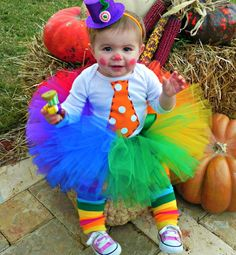 "Tutus: Clownin' Around tutu for your ""little princess...""/ baby clown costume/ clown tutu, sizes newborn -12mths, 1,2,3,4 5  $49.50, via Etsy."