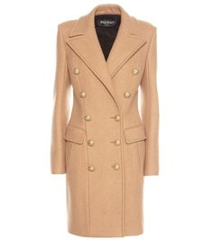 Nude virgin wool-cashmere blend double breasted coat from Balmain