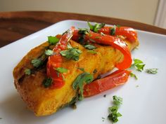 Healthy, tasty, and authentic recipe for Moroccan Paprika Fish. Paprika, olive oil, garlic, cilantro, and peppers. Kosher, pareve.