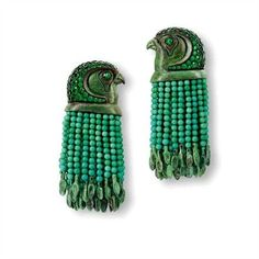Vintage emerald hawk earrings