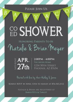 Co-Ed Baby Shower Flags and Stripes Invitation : Gray/Lime/Light Aqua. $20.00, via Etsy.
