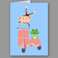 Scooter Monkey and Green Frog Riding Vintage Scooters Greeting Cards and Gifts.