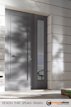 Grey front door available with armored glass and accompanied with a side panel or transom window. Grey Front Doors, Front Doors With Windows, Front Door Entrance, House Front Door, Glass Front Door, Front Door Decor, Entry Doors, Entrance Design, Door Design