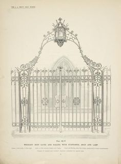 Wrought iron gates and railing with standards, arch and lamp