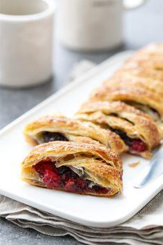 Tart Cherry & Chocolate Danish Twist Breakfast Pastry from @loveandoliveoil
